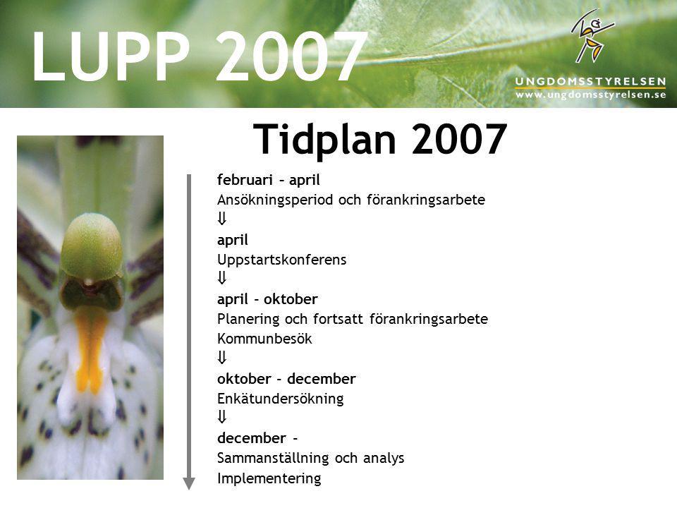 LUPP 2007 Tidplan 2007 februari – april Ansökningsperiod och förankringsarbete  april Uppstartskonferens  april - oktober Planering och fortsatt för