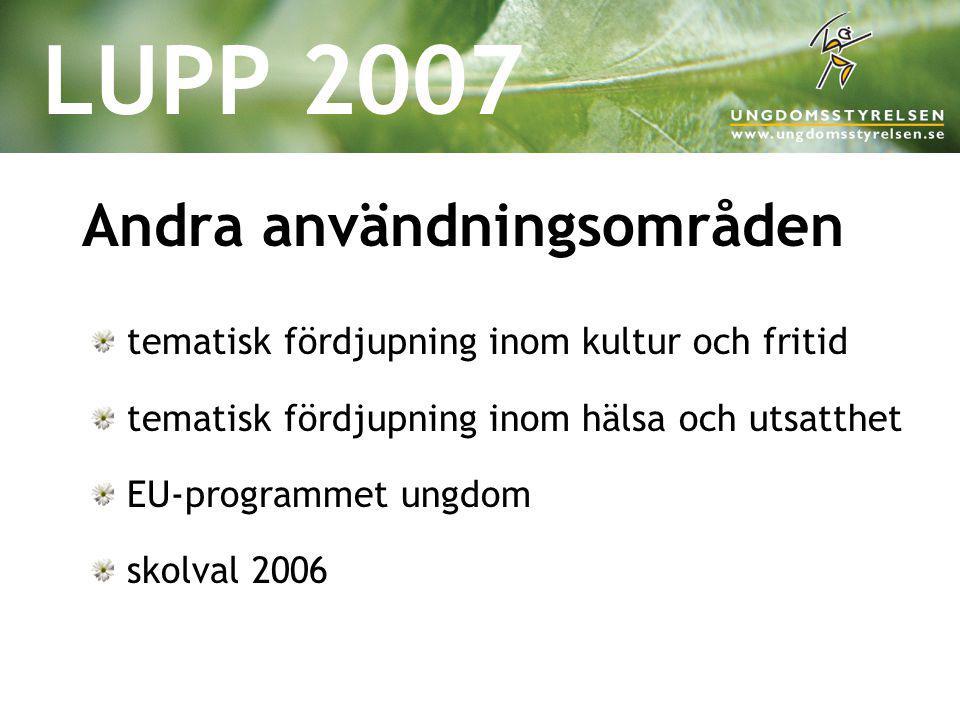 LUPP 2007 Andra användningsområden tematisk fördjupning inom kultur och fritid tematisk fördjupning inom hälsa och utsatthet EU-programmet ungdom skol