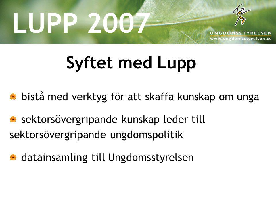 LUPP 2007 Syftet med Lupp bistå med verktyg för att skaffa kunskap om unga sektorsövergripande kunskap leder till sektorsövergripande ungdomspolitik d