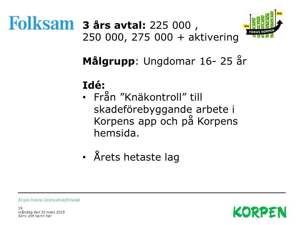 Korpen Svenska Motionsidrottsförbundet 19 måndag den 30 mars 2015 Skriv ditt namn här 3 års avtal: 225 000, 250 000, 275 000 + aktivering Målgrupp: Un