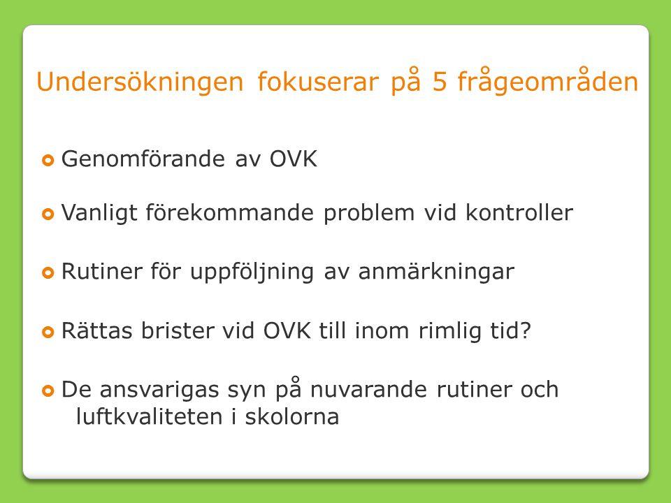 Undersökningen fokuserar på 5 frågeområden  Genomförande av OVK  Vanligt förekommande problem vid kontroller  Rutiner för uppföljning av anmärkningar  Rättas brister vid OVK till inom rimlig tid.