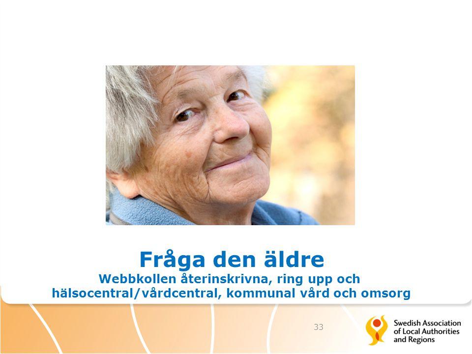 33 Fråga den äldre Webbkollen återinskrivna, ring upp och hälsocentral/vårdcentral, kommunal vård och omsorg