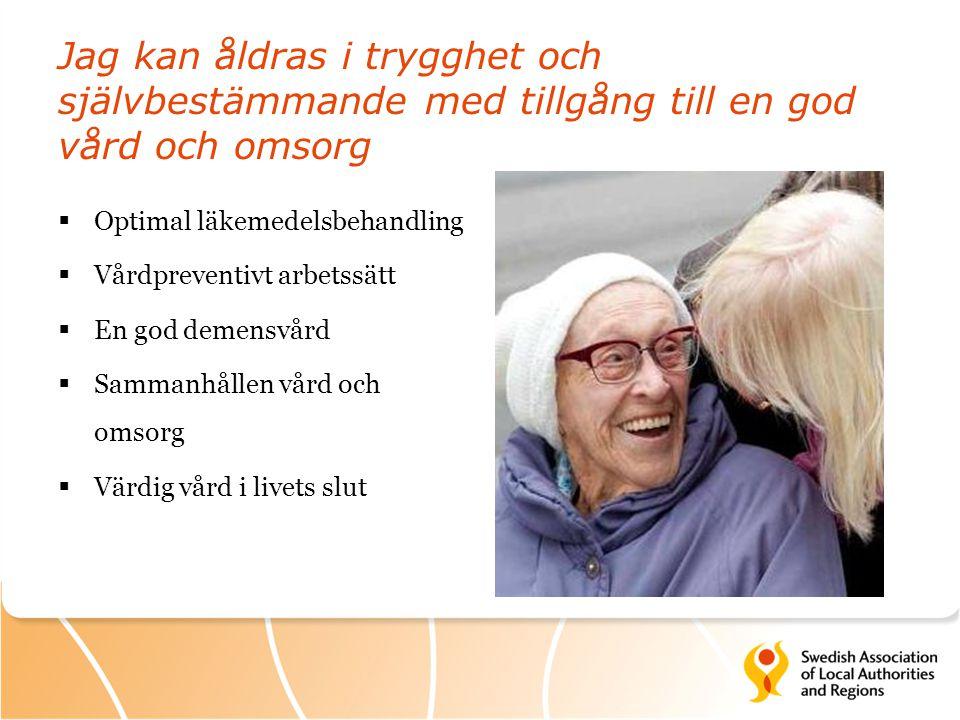 Jag kan åldras i trygghet och självbestämmande med tillgång till en god vård och omsorg  Optimal läkemedelsbehandling  Vårdpreventivt arbetssätt  E