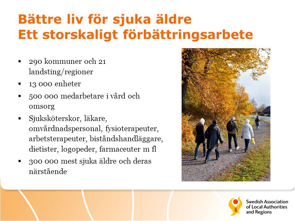 Bättre liv för sjuka äldre Ett storskaligt förbättringsarbete  290 kommuner och 21 landsting/regioner  13 000 enheter  500 000 medarbetare i vård o