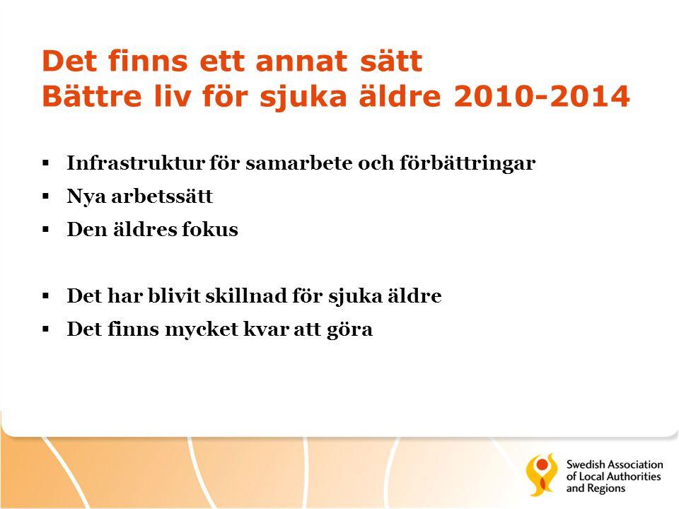Det finns ett annat sätt Bättre liv för sjuka äldre 2010-2014  Infrastruktur för samarbete och förbättringar  Nya arbetssätt  Den äldres fokus  De