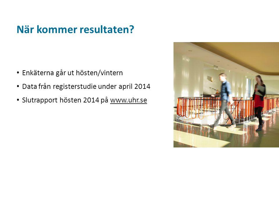 Sv Enkäterna går ut hösten/vintern Data från registerstudie under april 2014 Slutrapport hösten 2014 på www.uhr.sewww.uhr.se När kommer resultaten?