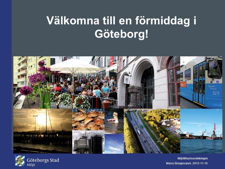 Miljötillsynsavdelningen Marco Bongiovanni, 2013-11-15 Välkomna till en förmiddag i Göteborg!