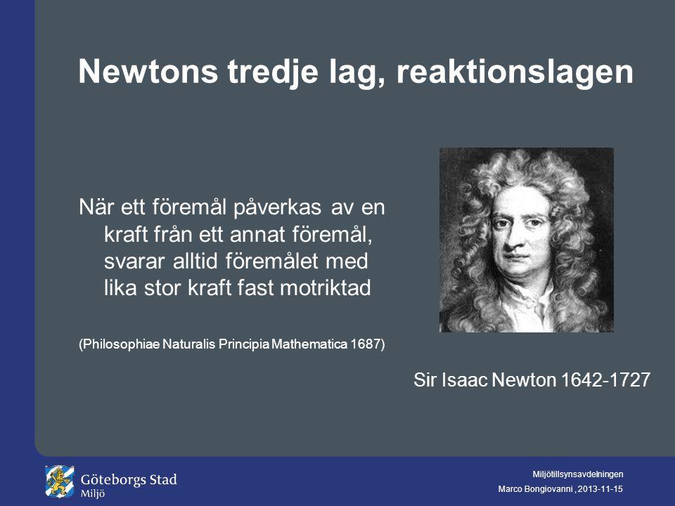 Miljötillsynsavdelningen Marco Bongiovanni, 2013-11-15 Newtons tredje lag, reaktionslagen När ett föremål påverkas av en kraft från ett annat föremål,