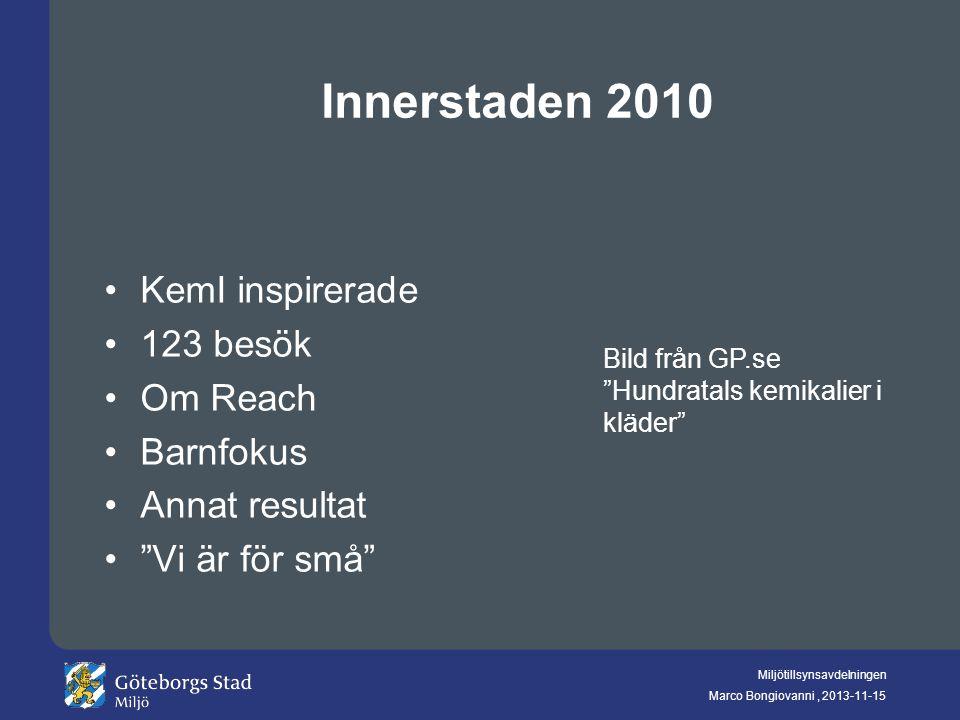 """Miljötillsynsavdelningen Marco Bongiovanni, 2013-11-15 Innerstaden 2010 KemI inspirerade 123 besök Om Reach Barnfokus Annat resultat """"Vi är för små"""" B"""
