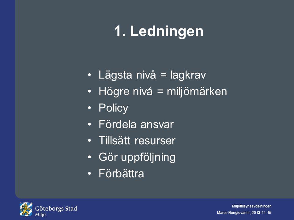 Miljötillsynsavdelningen Marco Bongiovanni, 2013-11-15 1. Ledningen Lägsta nivå = lagkrav Högre nivå = miljömärken Policy Fördela ansvar Tillsätt resu