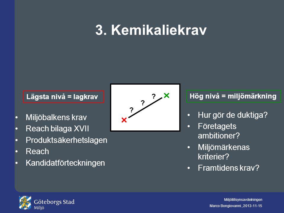 Miljötillsynsavdelningen Marco Bongiovanni, 2013-11-15 3. Kemikaliekrav ? ? ? Lägsta nivå = lagkrav Hög nivå = miljömärkning Miljöbalkens krav Reach b