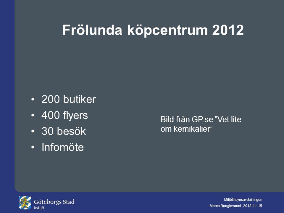 """Miljötillsynsavdelningen Marco Bongiovanni, 2013-11-15 Frölunda köpcentrum 2012 200 butiker 400 flyers 30 besök Infomöte Bild från GP.se """"Vet lite om"""