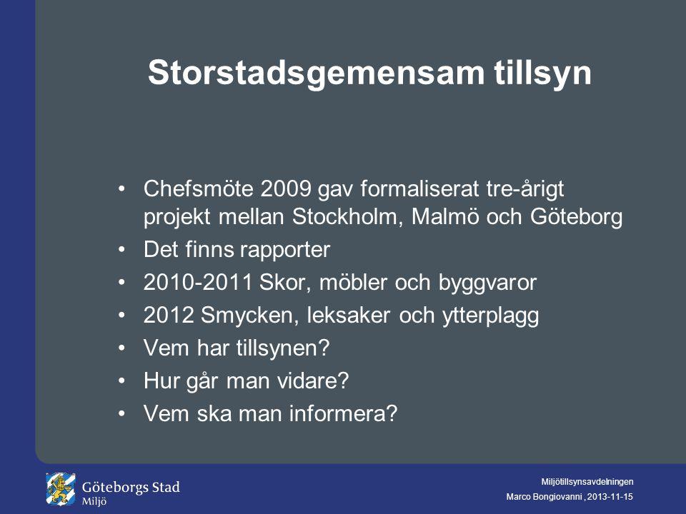 Miljötillsynsavdelningen Marco Bongiovanni, 2013-11-15 Storstadsgemensam tillsyn Chefsmöte 2009 gav formaliserat tre-årigt projekt mellan Stockholm, M