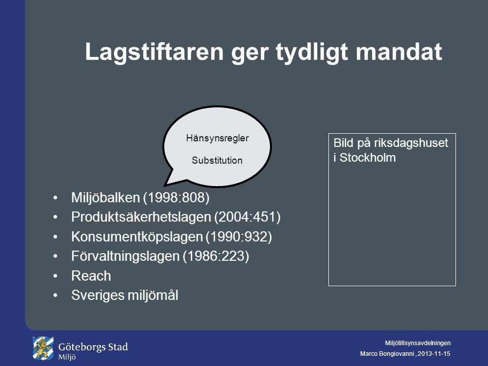 Miljötillsynsavdelningen Marco Bongiovanni, 2013-11-15 Lagstiftaren ger tydligt mandat Miljöbalken (1998:808) Produktsäkerhetslagen (2004:451) Konsume