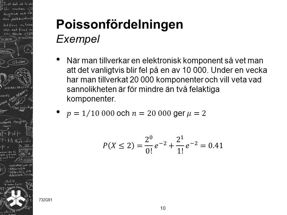 Poissonfördelningen Exempel 10 732G81