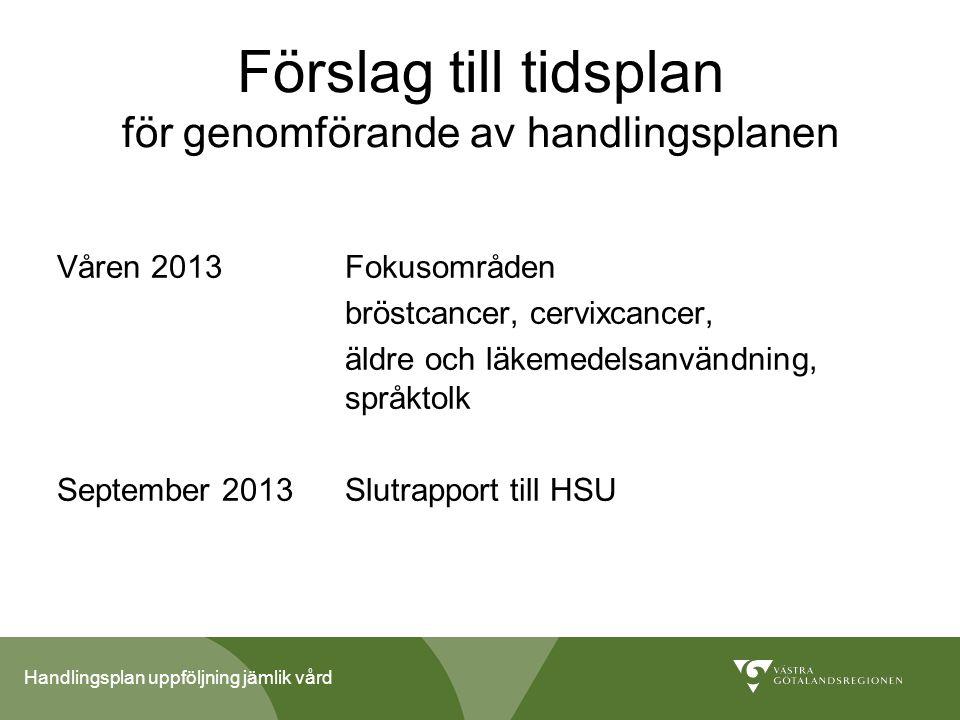 Handlingsplan uppföljning jämlik vård Förslag till tidsplan för genomförande av handlingsplanen Våren 2013Fokusområden bröstcancer, cervixcancer, äldr