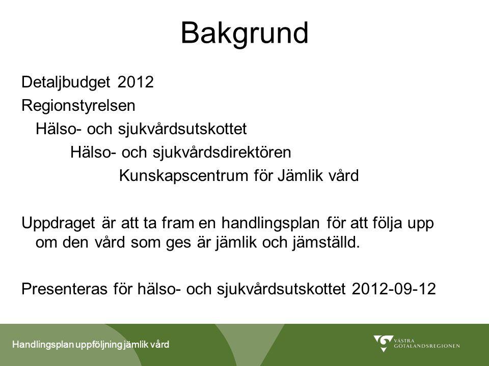 Handlingsplan uppföljning jämlik vård Bakgrund Detaljbudget 2012 Regionstyrelsen Hälso- och sjukvårdsutskottet Hälso- och sjukvårdsdirektören Kunskaps