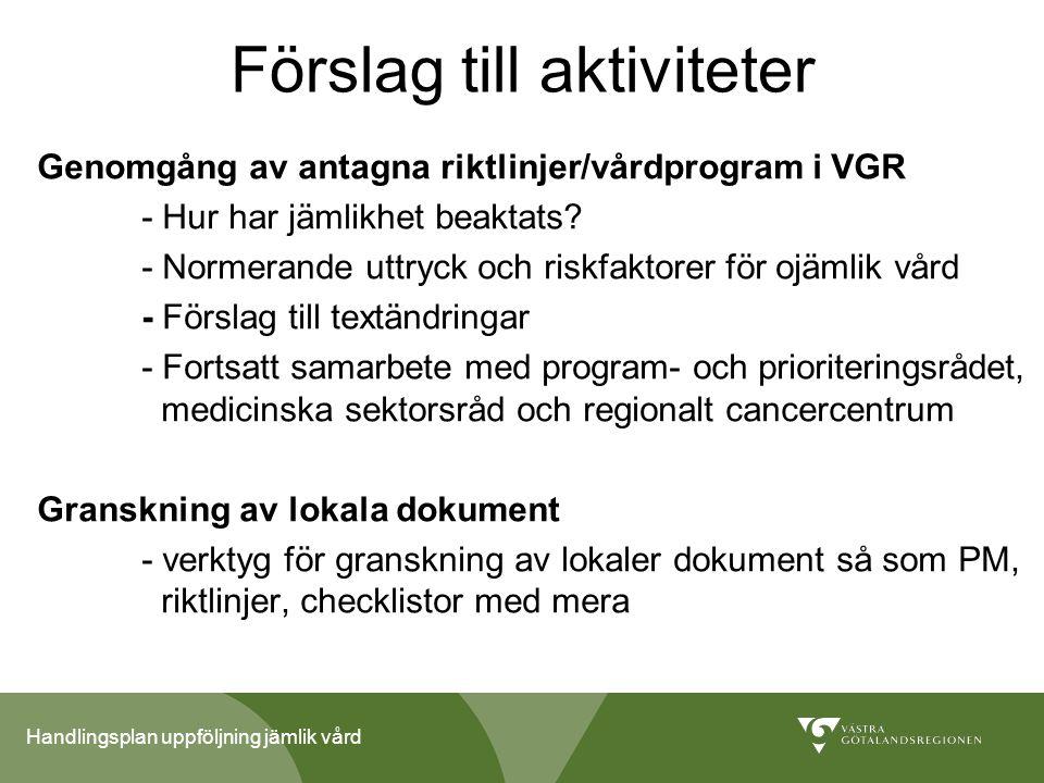 Handlingsplan uppföljning jämlik vård Förslag till aktiviteter Genomgång av antagna riktlinjer/vårdprogram i VGR - Hur har jämlikhet beaktats? - Norme