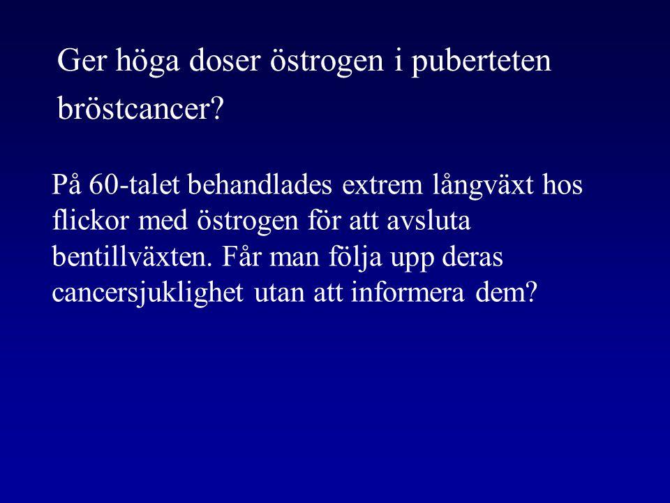 Ger höga doser östrogen i puberteten bröstcancer? På 60-talet behandlades extrem långväxt hos flickor med östrogen för att avsluta bentillväxten. Får