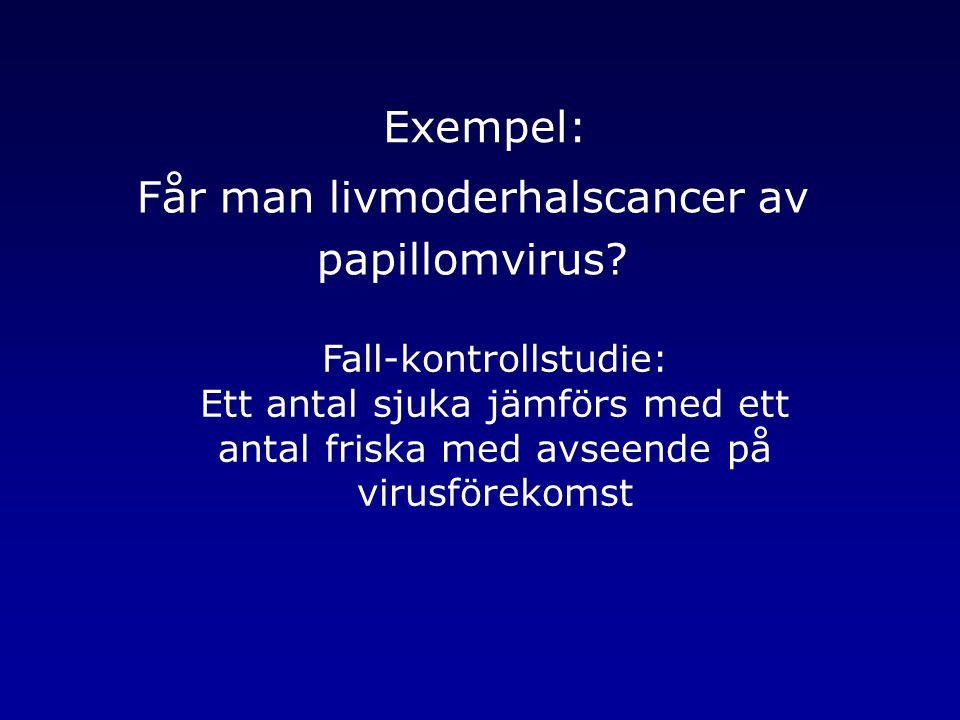 Får man livmoderhalscancer av papillomvirus? Fall-kontrollstudie: Ett antal sjuka jämförs med ett antal friska med avseende på virusförekomst Exempel: