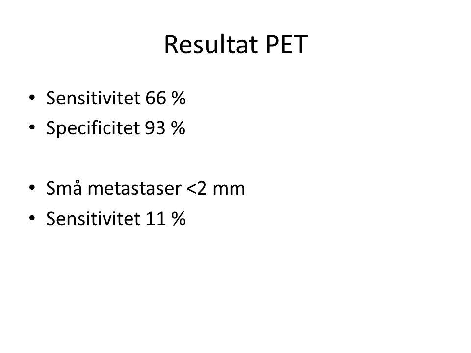 Resultat PET Sensitivitet 66 % Specificitet 93 % Små metastaser <2 mm Sensitivitet 11 %
