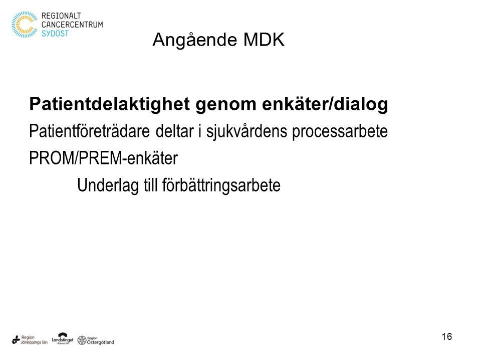 Patientdelaktighet genom enkäter/dialog Patientföreträdare deltar i sjukvårdens processarbete PROM/PREM-enkäter Underlag till förbättringsarbete 16 An