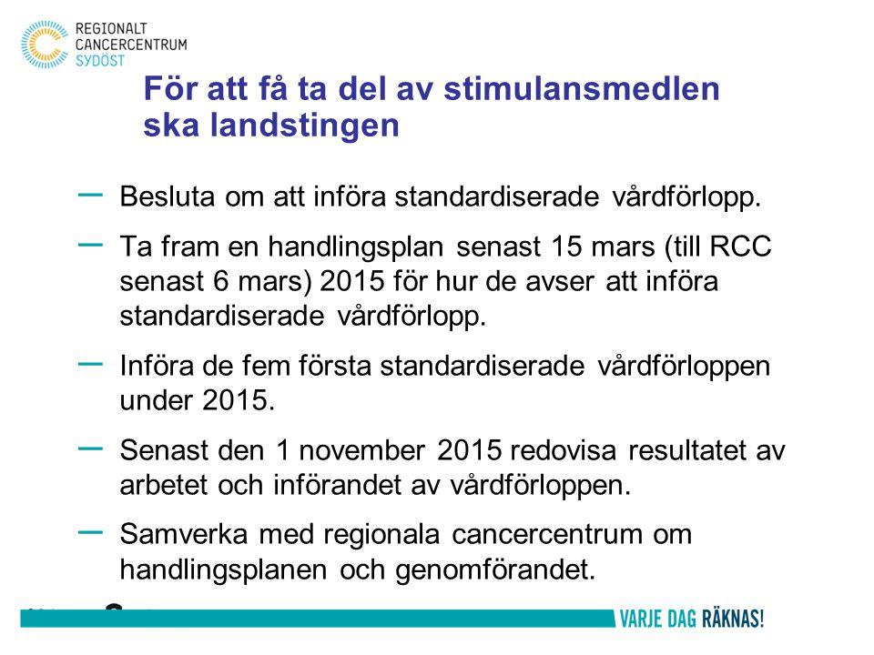 För att få ta del av stimulansmedlen ska landstingen – Besluta om att införa standardiserade vårdförlopp. – Ta fram en handlingsplan senast 15 mars (t