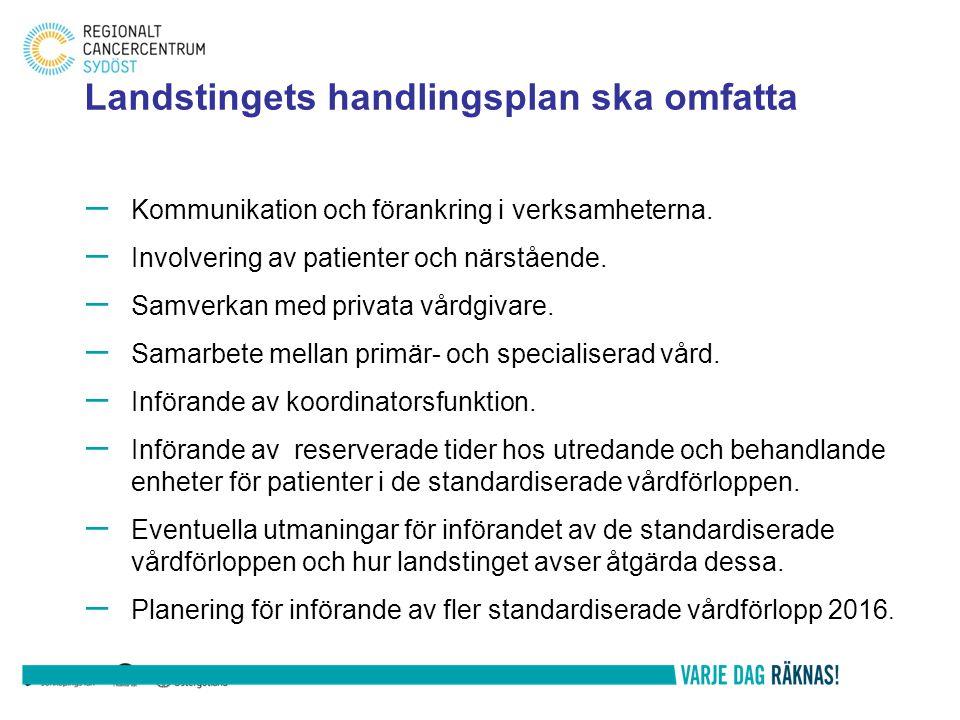 – Kommunikation och förankring i verksamheterna. – Involvering av patienter och närstående. – Samverkan med privata vårdgivare. – Samarbete mellan pri