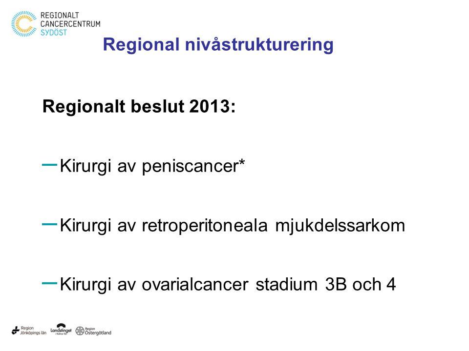 Regionalt beslut 2013: – Kirurgi av peniscancer* – Kirurgi av retroperitoneala mjukdelssarkom – Kirurgi av ovarialcancer stadium 3B och 4 Regional niv