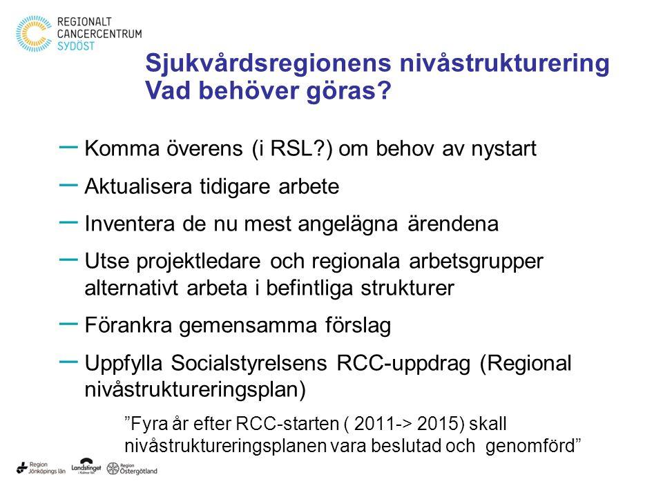 – Komma överens (i RSL?) om behov av nystart – Aktualisera tidigare arbete – Inventera de nu mest angelägna ärendena – Utse projektledare och regional