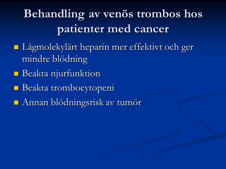 Behandling av venös trombos hos patienter med cancer Lågmolekylärt heparin mer effektivt och ger mindre blödning Lågmolekylärt heparin mer effektivt och ger mindre blödning Beakta njurfunktion Beakta njurfunktion Beakta trombocytopeni Beakta trombocytopeni Annan blödningsrisk av tumör Annan blödningsrisk av tumör