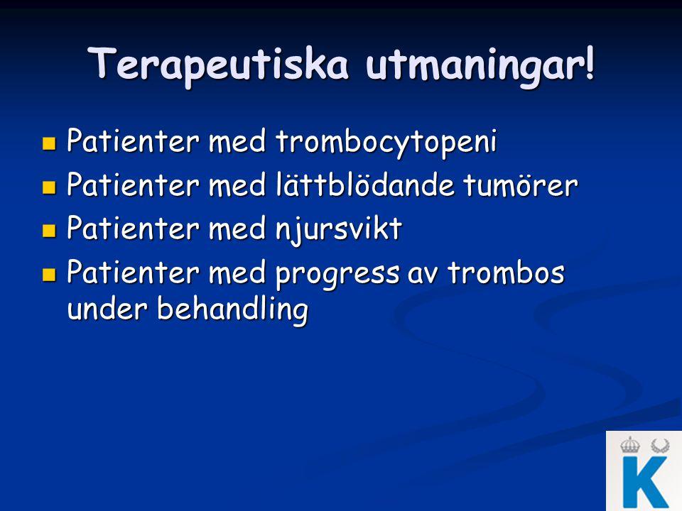 Terapeutiska utmaningar! Patienter med trombocytopeni Patienter med trombocytopeni Patienter med lättblödande tumörer Patienter med lättblödande tumör