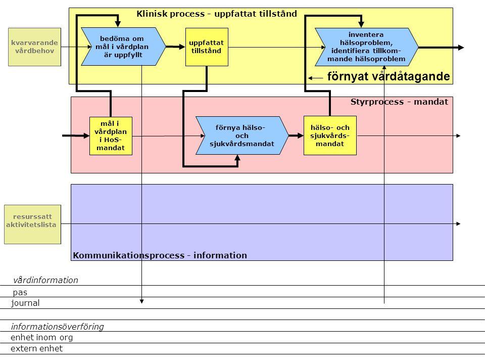 hälso- och sjukvårds- mandat Klinisk process - uppfattat tillstånd Styrprocess - mandat Kommunikationsprocess - information kvarvarande vårdbehov förnya hälso- och sjukvårdsmandat bedöma om mål i vårdplan är uppfyllt uppfattat tillstånd mål i vårdplan i HoS- mandat inventera hälsoproblem, identifiera tillkom- mande hälsoproblem förnyat vårdåtagande resurssatt aktivitetslista pas journal extern enhet enhet inom org informationsöverföring vårdinformation