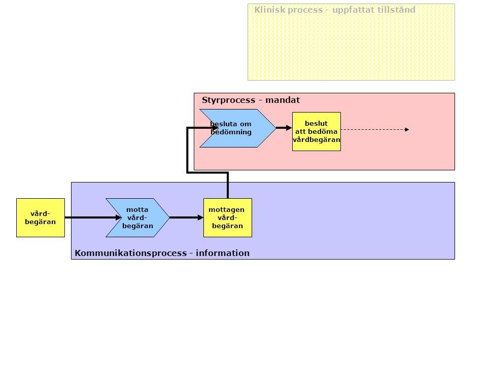 vård- begäran Klinisk process - uppfattat tillstånd Styrprocess - mandat Kommunikationsprocess - information motta vård- begäran mottagen vård- begära