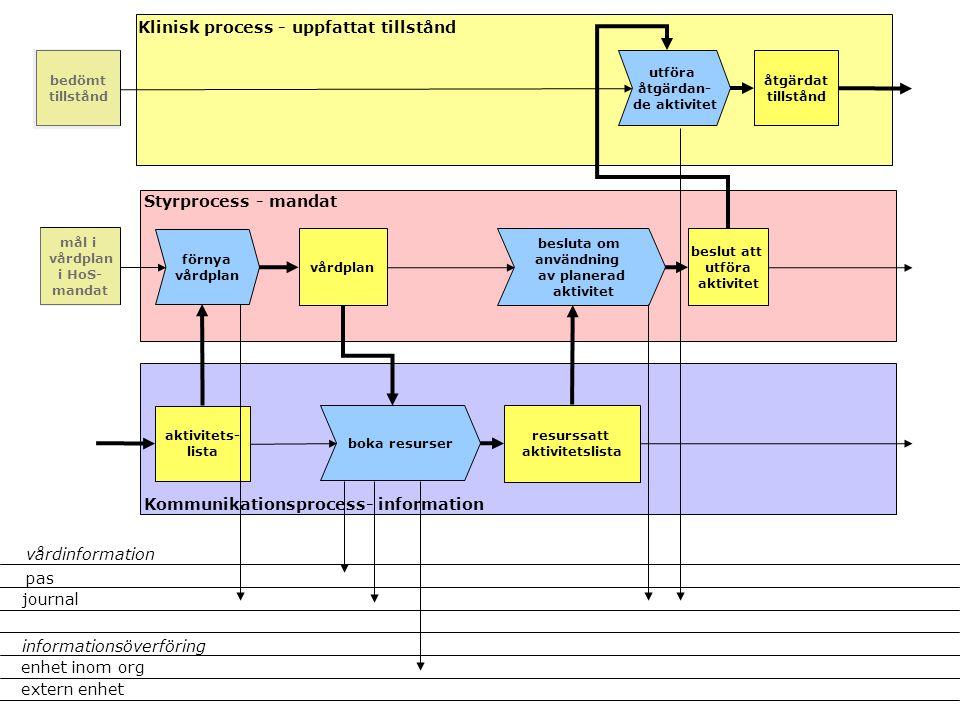 utföra åtgärdan- de aktivitet vårdplan Klinisk process - uppfattat tillstånd Styrprocess - mandat Kommunikationsprocess- information åtgärdat tillstån