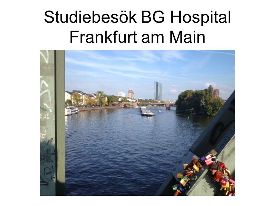 BG hospital Frankfurt jmf Akademiska sjukhuset BG hospital Frankfurt 348 bäddar 5000 op/år 10 000 vtf 100 op Bäcken Akademiska Sjukhuset 943 bäddar 30 000 op/år 50 000 vtf 60 op Bäcken