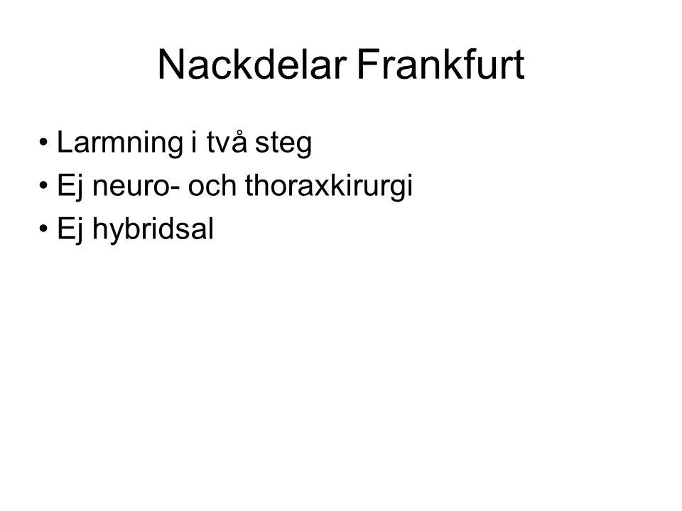 Nackdelar Frankfurt Larmning i två steg Ej neuro- och thoraxkirurgi Ej hybridsal