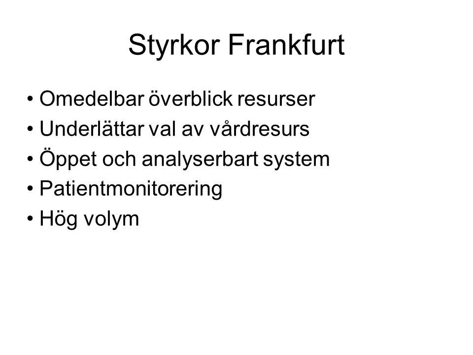 Styrkor Frankfurt Omedelbar överblick resurser Underlättar val av vårdresurs Öppet och analyserbart system Patientmonitorering Hög volym