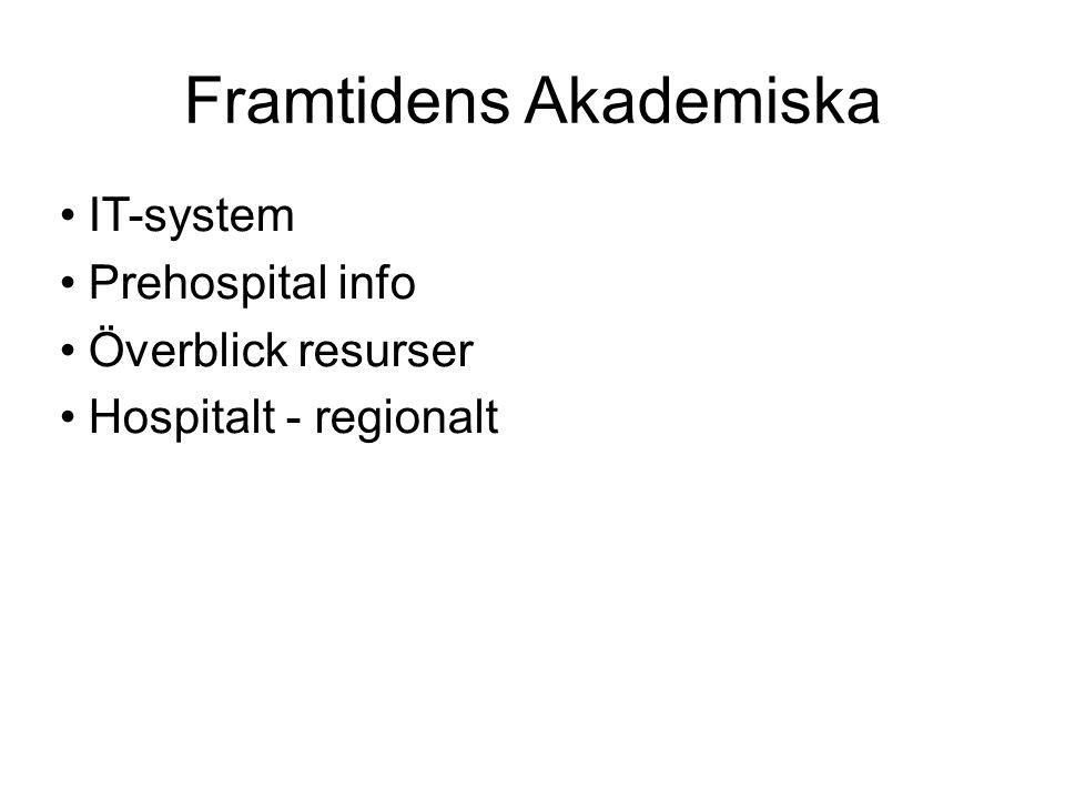 Framtidens Akademiska IT-system Prehospital info Överblick resurser Hospitalt - regionalt