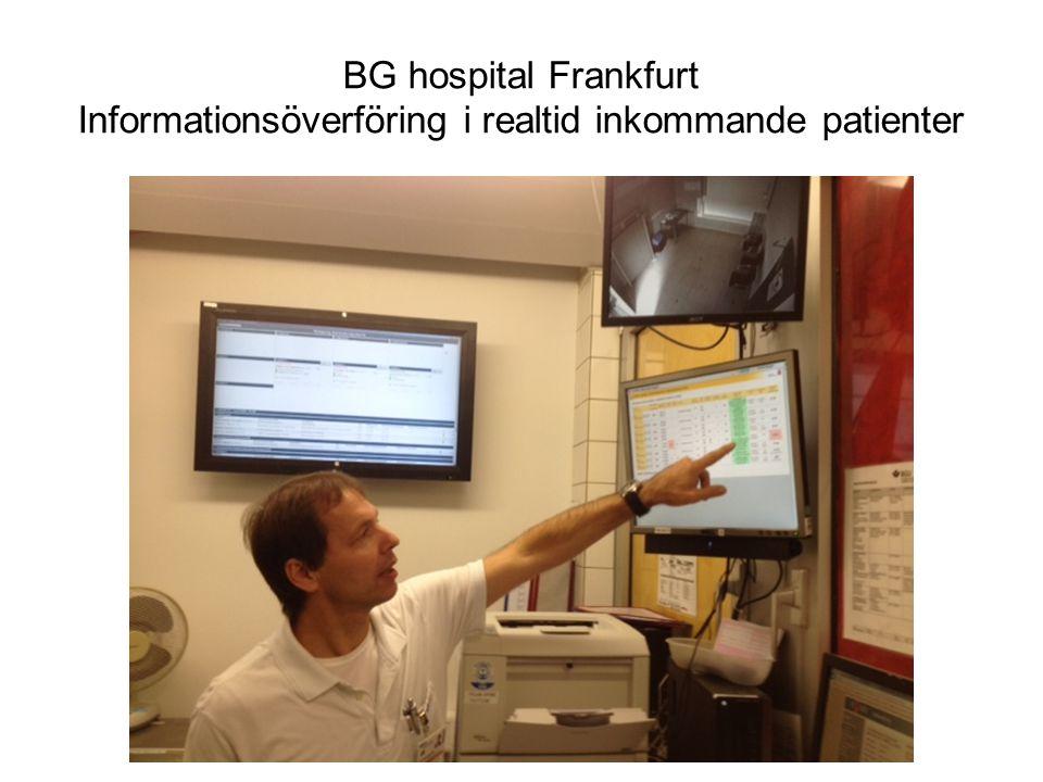 BG hospital Frankfurt Informationsöverföring i realtid inkommande patienter