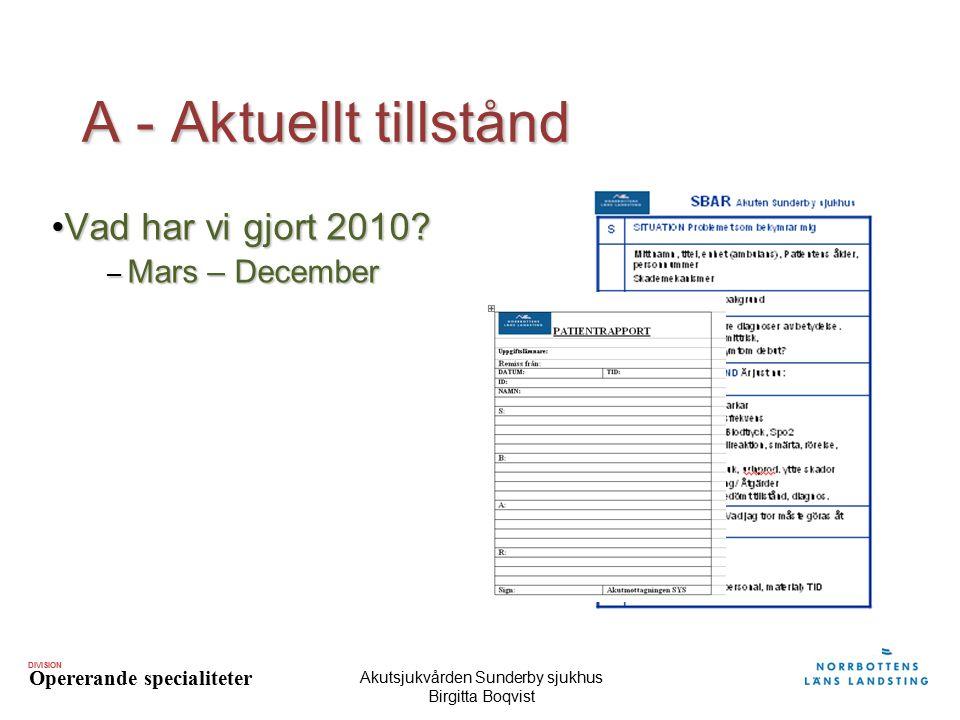 DIVISION Opererande specialiteter Akutsjukvården Sunderby sjukhus Birgitta Boqvist A - Aktuellt tillstånd Vad har vi gjort 2010?Vad har vi gjort 2010?