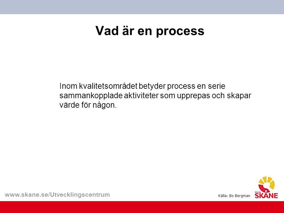 www.skane.se/Utvecklingscentrum Vad är en process Inom kvalitetsområdet betyder process en serie sammankopplade aktiviteter som upprepas och skapar vä