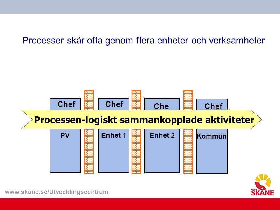 www.skane.se/Utvecklingscentrum PVEnhet 1Enhet 2 Kommun Chef Processer skär ofta genom flera enheter och verksamheter Chef Processen-logiskt sammankop