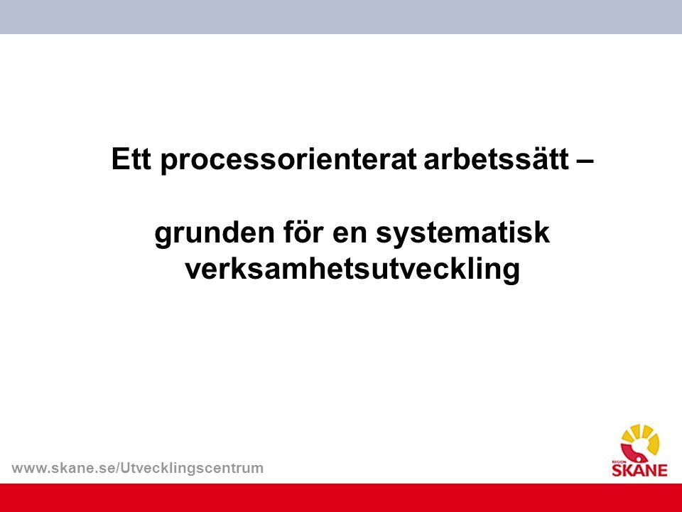 www.skane.se/Utvecklingscentrum Ett processorienterat arbetssätt – grunden för en systematisk verksamhetsutveckling