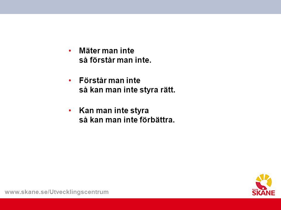 www.skane.se/Utvecklingscentrum Mäter man inte så förstår man inte. Förstår man inte så kan man inte styra rätt. Kan man inte styra så kan man inte fö