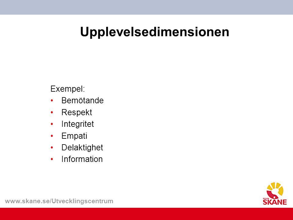 www.skane.se/Utvecklingscentrum Upplevelsedimensionen Exempel: Bemötande Respekt Integritet Empati Delaktighet Information