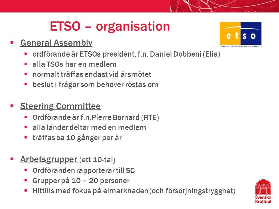 ETSO – organisation  General Assembly  ordförande är ETSOs president, f.n. Daniel Dobbeni (Elia)  alla TSOs har en medlem  normalt träffas endast