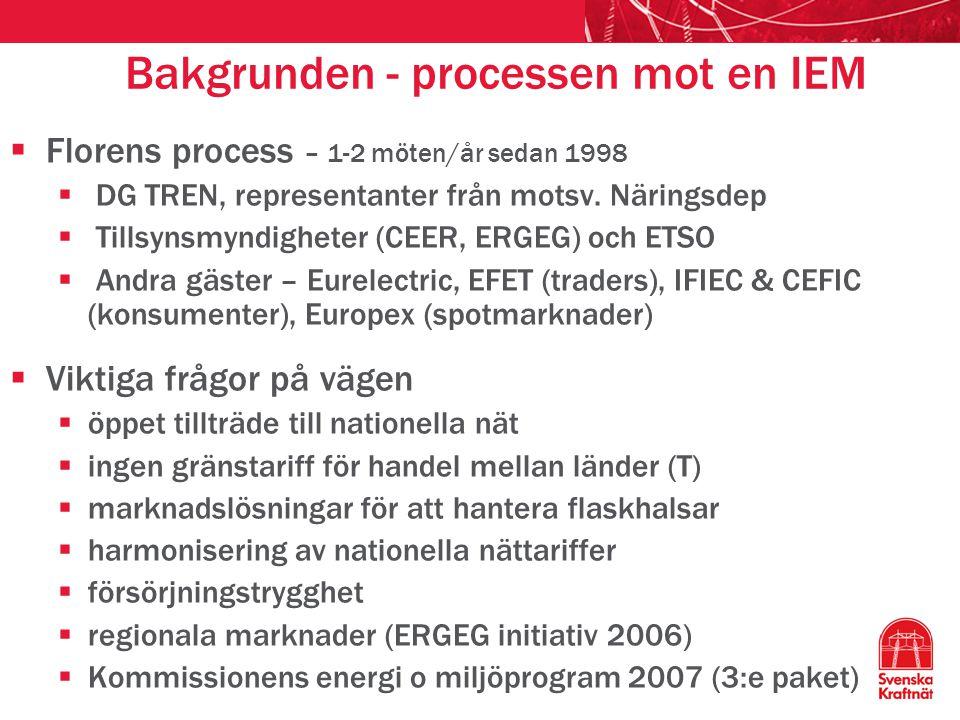 Bakgrunden - processen mot en IEM  Florens process – 1-2 möten/år sedan 1998  DG TREN, representanter från motsv. Näringsdep  Tillsynsmyndigheter (