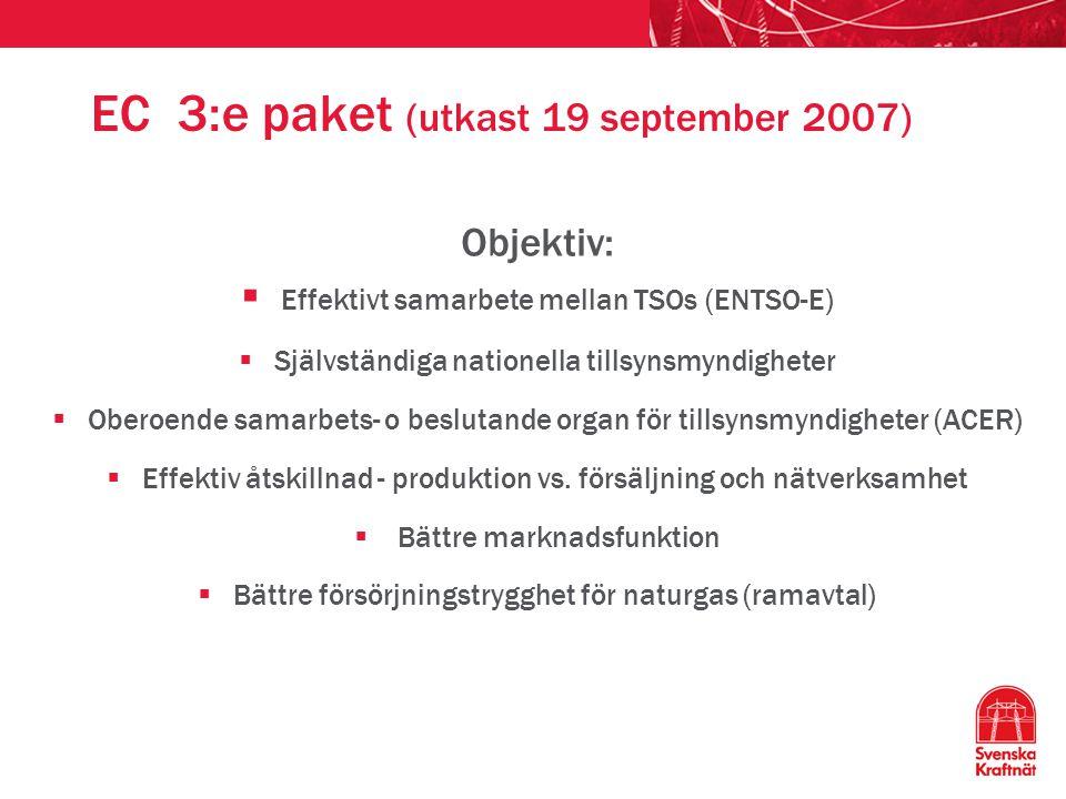 EC 3:e paket (utkast 19 september 2007) Objektiv:  Effektivt samarbete mellan TSOs (ENTSO-E)  Självständiga nationella tillsynsmyndigheter  Oberoen