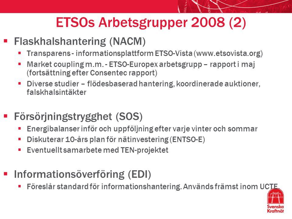 ETSOs Arbetsgrupper 2008 (2)  Flaskhalshantering (NACM)  Transparens - informationsplattform ETSO-Vista (www.etsovista.org)  Market coupling m.m.